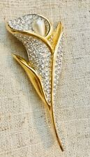 Swarovski Pave Set Crystal Calla Lily Pin Brooch 22kt Gold Plated Retired
