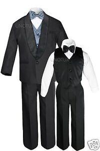 Boy Satin Shawl Lapel Suits Tuxedo EXTRA Dark Gray Bow Tie Vest Set Outfits S-18