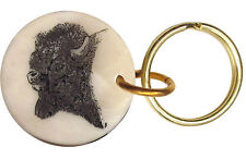 Montana Marble Etched Key Chain Buffalo or Bison