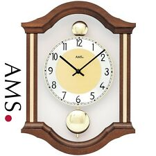 AMS 7447/1 Wall Clock Quartz Pendulum Double Wood Walnut Colours Living Room