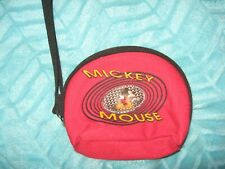New Vintage Disney Mickey Mouse Coin Purse Wristlet Strap Bag Lenticular Red Zip