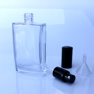 Parfum Flakon-Parfum Flasche-GLAS-NEU leer 100ml + Trichter-nachfüllbar, schwarz