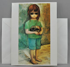 Walter Margaret Keane Greeting Card BIG EYES NEW PUPPY 1964 Blank Burton