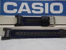 Casio Watch Band PRS-400 B-2 blue Leather/Nylon Strap.Fishing Gear Moon Graph