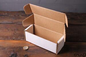 10 x Rectangular Postal Box White Cardboard Packaging Square End Gift 150x57x57