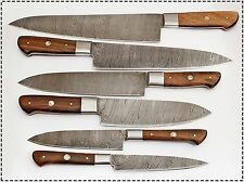 6 Pc's Beautiful Custom hand made Damascus steel Chef knife Set. (ZE-1071-WN)