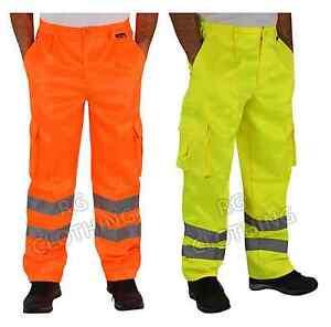 Men's Hi-Vis High Visibility PolyCotton Workwear Combat Cargo Trousers 30-48