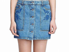 "Rebecca Minkoff Women's Blue Emroid Denim Button Front Mini Skirt Size 26"" $148"