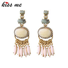 KISS ME Big Geometric Antique Gold Plated Tassel Earrings for Women ed01366