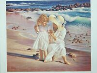 "Miguel Paredes Lithograph Print Mother & Daughter Beach Scene, 25"" x 21"" (Image)"