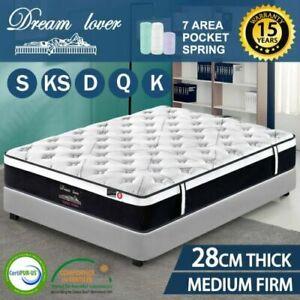 Dream Lover Queen King Single Double Bed Mattress Pocket Spring Medium Firm 28CM