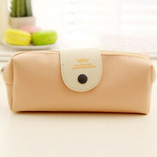 Leather Cosmetic Makeup Bag Pen Pencil Stationery Case Zipper Pouch Box BG