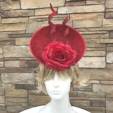 Red Sinamay Fascinator Headband. Handmade in NY. Kentucky Derby Style. One size