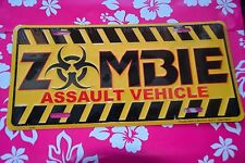 Metal Sign Zombie assualt vehichle novelty survival Gift Fun yellow/black/red