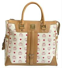 Authentic MCM White Red Coated Canvas Beige Leather Large Satchel Handbag
