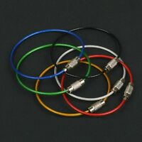 5PCS Colorful Stainless Steel Wire Keychain Cable Outdoor Hiking Key Ring Chains