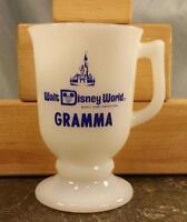 "Walt Disney World ""Gramma"" Grandmother Souvenir Milk Glass Pedestal Coffee Mug"