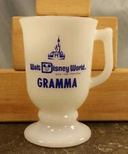 Vtg Walt Disney World White Coffee Mug Milk Glass Footed Pedestal Stamped Gramma