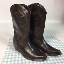 NEW LOOK Dark Brown Genuine Leather Cowboy Boots UK 4 EU 37 Stitched Western