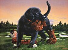Phillip Crowe The Duffer Lab Puppy Golfing- 12 x 9 Signed Prints
