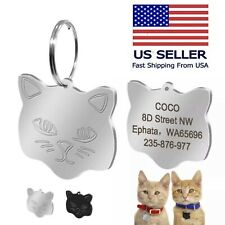 Custom Cat Tag Id Name Personalized Collar Engraved Funny Tag with Split Ring