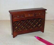 Miniature 3-Drawer Walnut Wine Steward Cabinet: DOLLHOUSE Miniatures 1/12