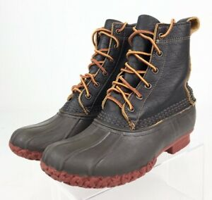 L.L. Bean Womens Rain Duck Boots Brown Rubber Ankle Lace Up Leather 6 M