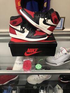 Nike Air Jordan Retro 1 Bred Toe OG High Gym Red Black Bred Varsity Red Size 9