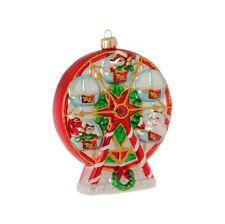 "3752879 RAZ 5.5"" Ferris Wheel Carnival Glass Christmas Ornament Santa Reindeer"