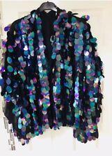 Primark Rosa sequin glitter Junkie Kimono Bloom Festival mermaid Jacket Black BN