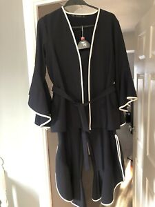 Stunning Navy And White Piping Zara Trouser Suit  Jacket M Trousers L Worn Once