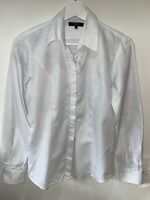 T.M Lewin white embossed fully fitted ruffle front blouse shirt 8 long sleeve