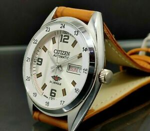 Citizen Automatic Men's Steel white Dial Day Date Vintage Japan Watch Run Order