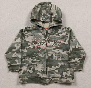 Carhartt Camouflage Full Zip Hoodie Sweatshirt Toddler Size 2T Distressed
