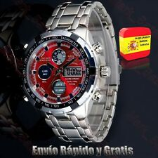 Reloj De Pulsera Hombre Digital Led Deportivo Para Hombres Acero Analógico Rojo