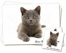 British Blue Cat 'Love You Grandma' Twin 2x Placemats+2x Coasters S, AC-133lygPC