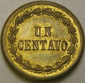 DOMINICAN REPUBLIC 1 Centavo 1877 - Brass - XF/aUNC - 350 ¤