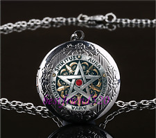 Metal Pentagram Photo Cabochon Glass Gun Black Locket Pendant Necklace