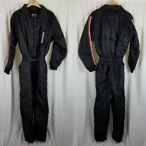 Vintage Rothco Insulated One Piece Winter Ski Snowsuit Mens L Racing Stripes