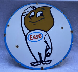 "Round Enamel ""ESSO"" Advertising Sign"