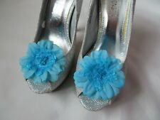 Turquoise Blue Daisy Flower Shoe Clips Clip Wedding Vintage Retro Pin Up Prom