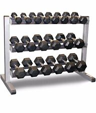 Body-Solid 3 Tier Rack & Bodypower 10-25kg 7-Pair Rubber Hex Dumbbell Weight Set