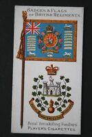 Royal Inniskilling Fusiliers    Original 1904 Vintage Colours & Badge Card  VGC