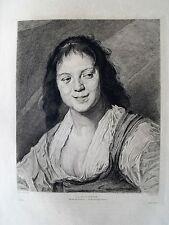 1m58 Gravure eau forte d'après Frans Hals par A. Mongin la bohémienne l'art 1878