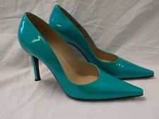 Stuart Weitzman Blue Green Patent Leather Pointed Toe Pumps Womens Size 8