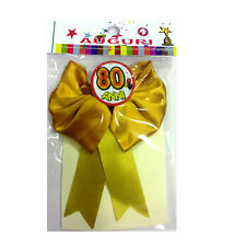 80 YEARS rosette with pin satin 12x12 cm made in italy by mr.gadgets