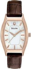 Bulova Women's 97L114 Classic Rose Gold Brown Leather Band Quartz Watch