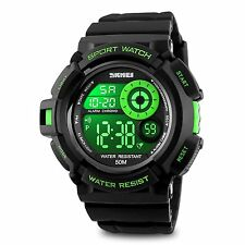 Kids Boys Mens Digital Watch, Sport Electronic Waterproof Cool Green Military 7