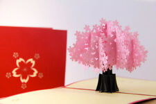 3D POP UP CARD Spring Cherry Blossom Pink Flower Tree KIRIGAMI ORIGAMI HANDMADE
