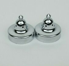 NOS Pair of Vintage Fenton Art Glass Salt and Pepper Shaker Metal 2 Lids New x2